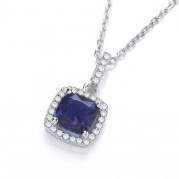 "J-Jaz Micro Pave' Blue & Clear Cz Drop Pendant with 18"" Chain"